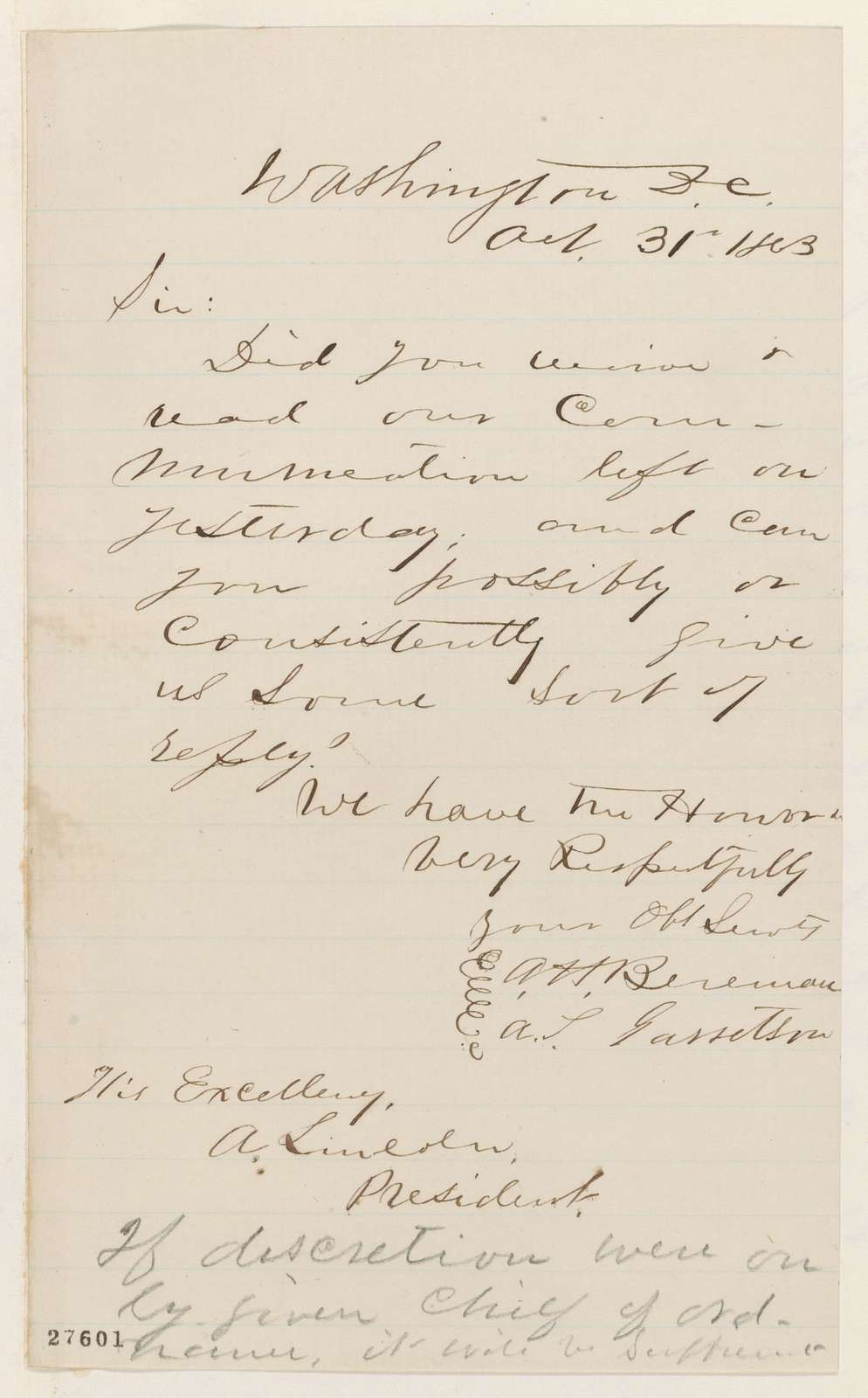 Abraham Lincoln papers: Series 1. General Correspondence. 1833-1916: Arthur H. Boreman and A. S. Garretson to Abraham Lincoln, Saturday, October 31, 1863 (Request reply to their letter)
