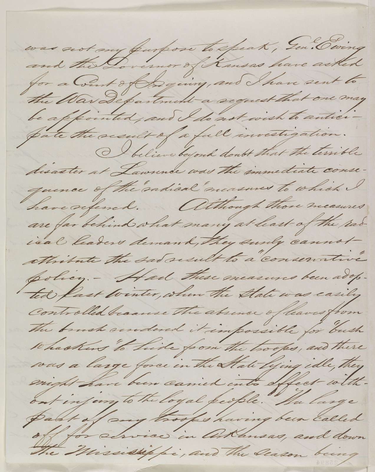 Abraham Lincoln papers: Series 1. General Correspondence. 1833-1916: John M. Schofield to Abraham Lincoln, Friday, August 28, 1863 (Reply to Lincoln's telegram of August 27 regarding the massacre at Lawrence, Kansas)