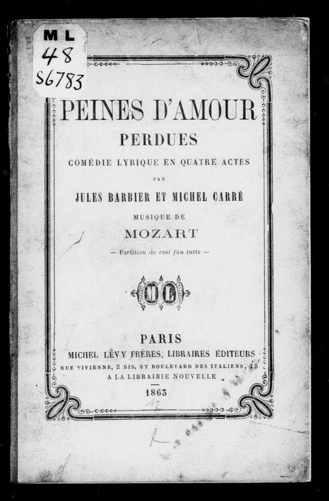 Così fan tutte. Libretto. French