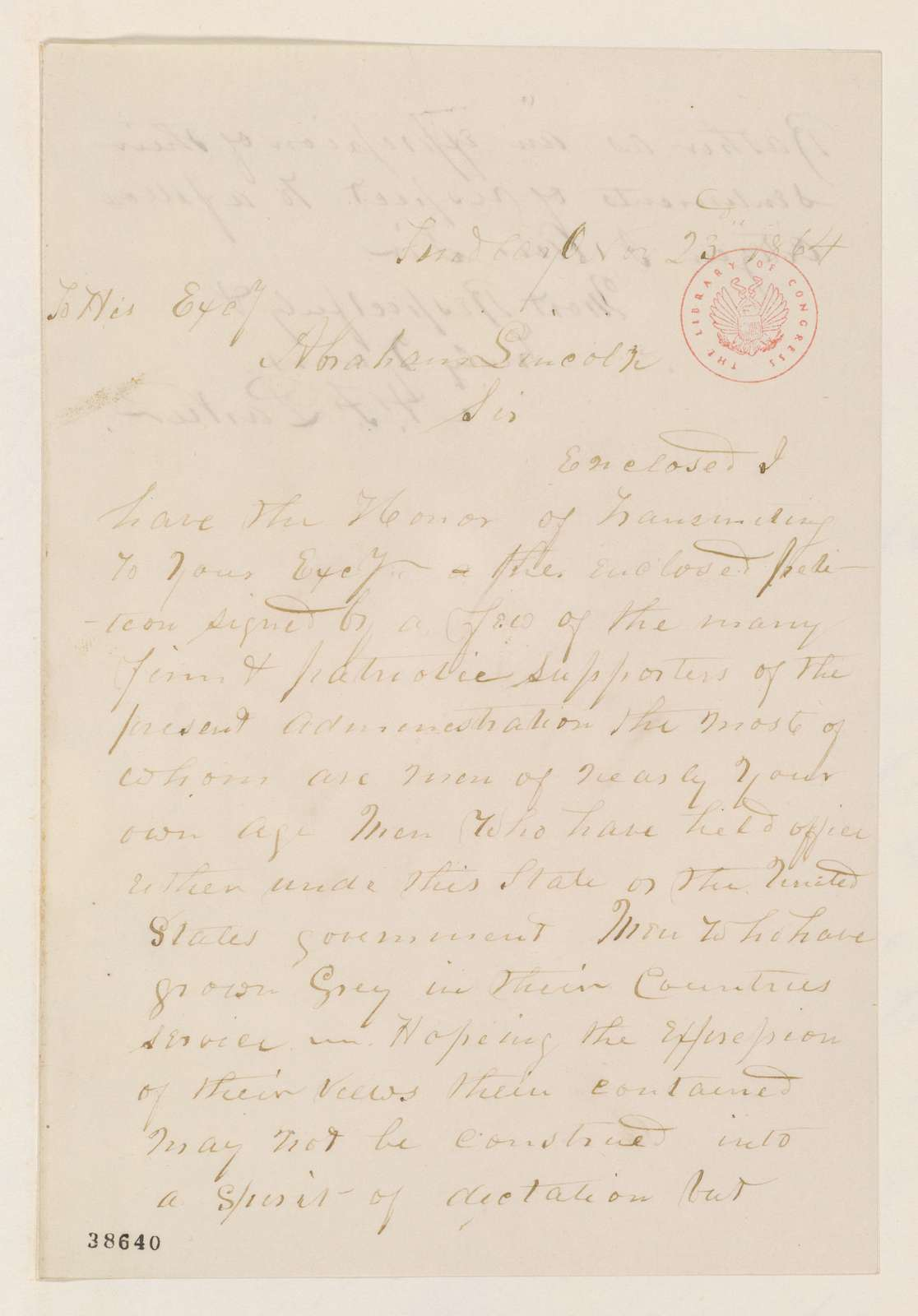Abraham Lincoln papers: Series 1. General Correspondence. 1833-1916: A. F. Parker to Abraham Lincoln, Wednesday, November 23, 1864 (Sends petition)