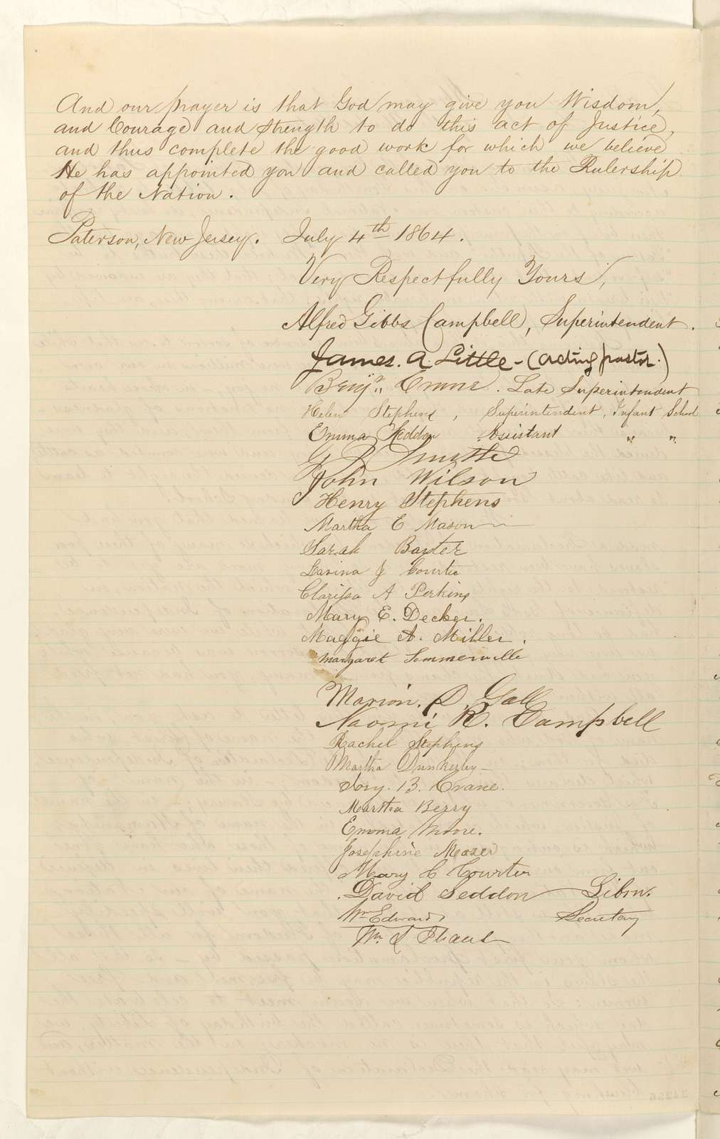 Abraham Lincoln papers: Series 1. General Correspondence. 1833-1916: Congregational Church at Paterson, New Jersey to Abraham Lincoln, Monday, July 04, 1864 (Petition recommending second Emancipation Proclamation)