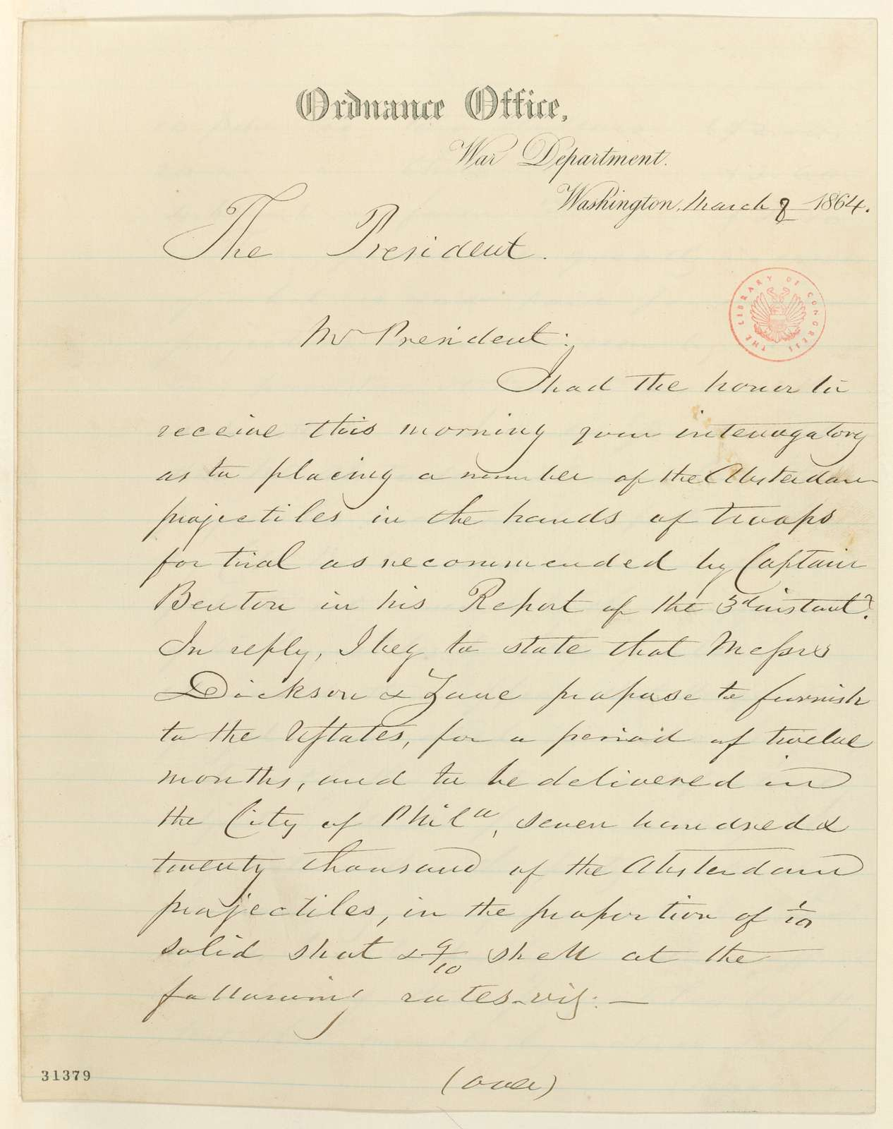 Abraham Lincoln papers: Series 1. General Correspondence. 1833-1916: George D. Ramsay to Abraham Lincoln, Tuesday, March 08, 1864 (Absterdam projectiles; endorsed by Abraham Lincoln, March 10, 1864)