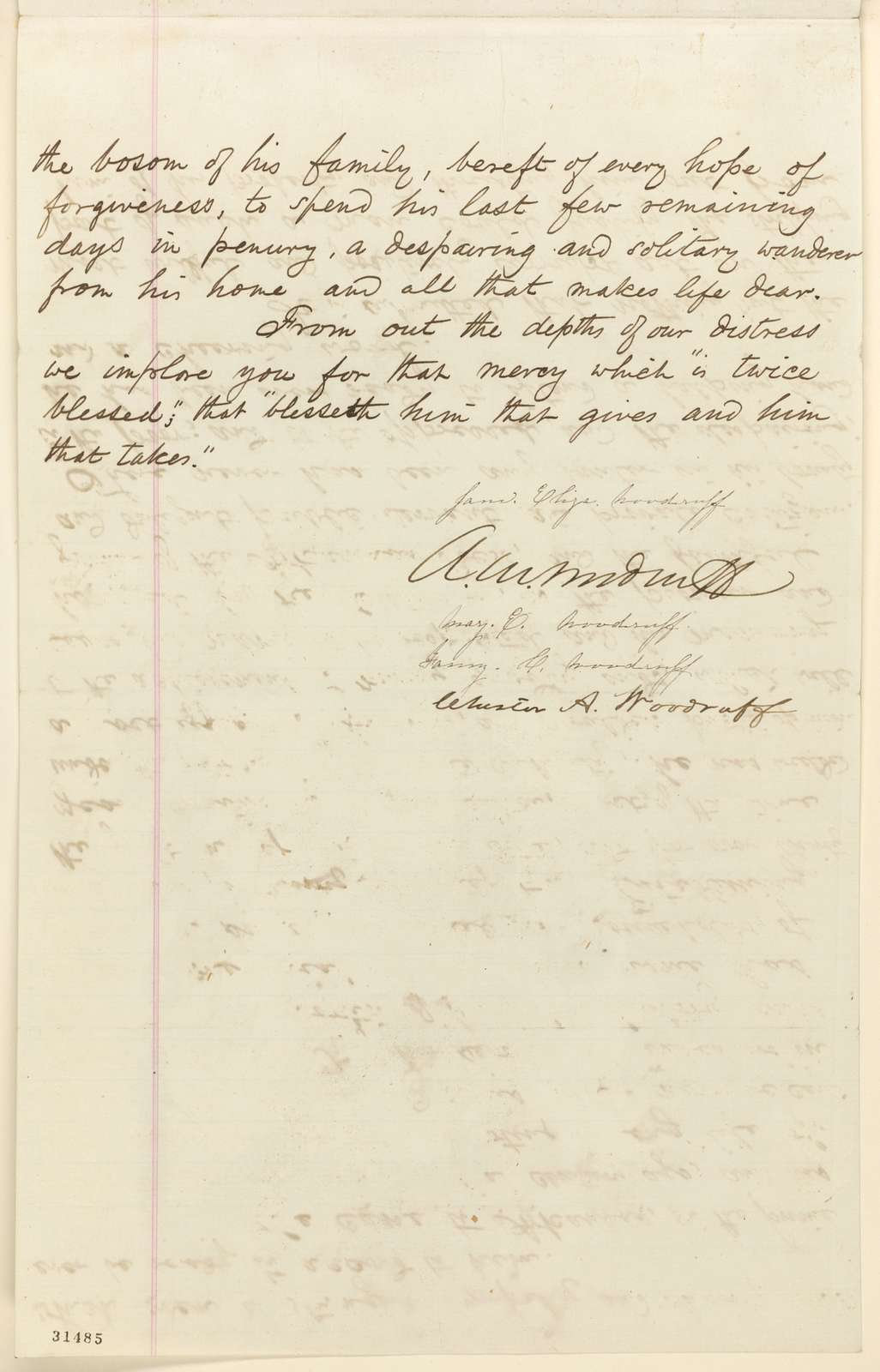 Abraham Lincoln papers: Series 1. General Correspondence. 1833-1916: Jane E. Woodruff, et al. to Abraham Lincoln, Friday, March 11, 1864 (Request pardon for William E. Woodruff)