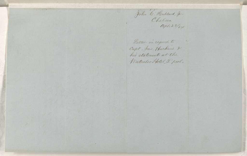 Abraham Lincoln papers: Series 1. General Correspondence. 1833-1916: John C. Hubbard Jr. to Thomas Shaw, Friday, April 22, 1864 (Military affairs)