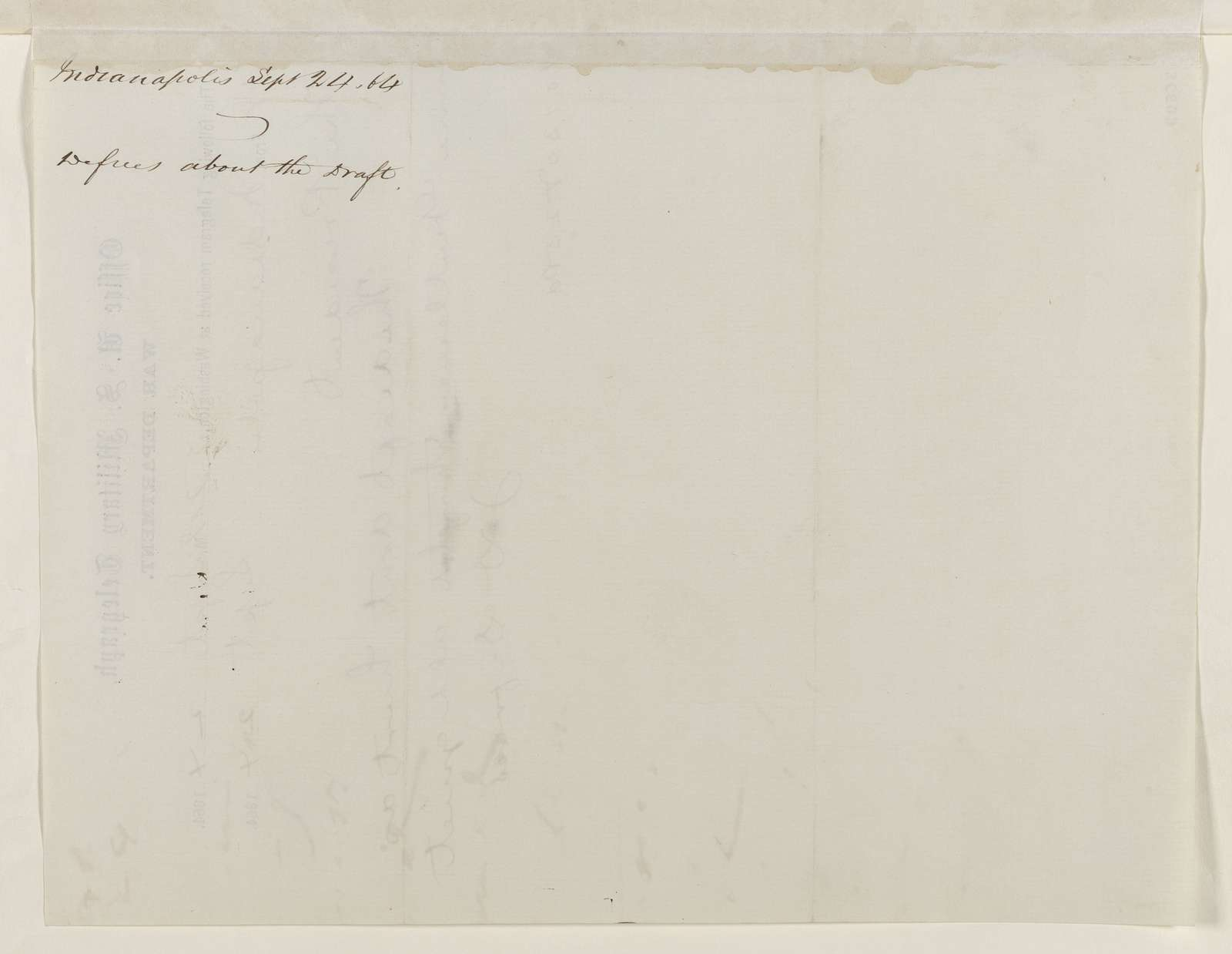 Abraham Lincoln papers: Series 1. General Correspondence. 1833-1916: John D. Defrees to Abraham Lincoln, Saturday, September 24, 1864 (Telegram concerning conscription in Indiana)