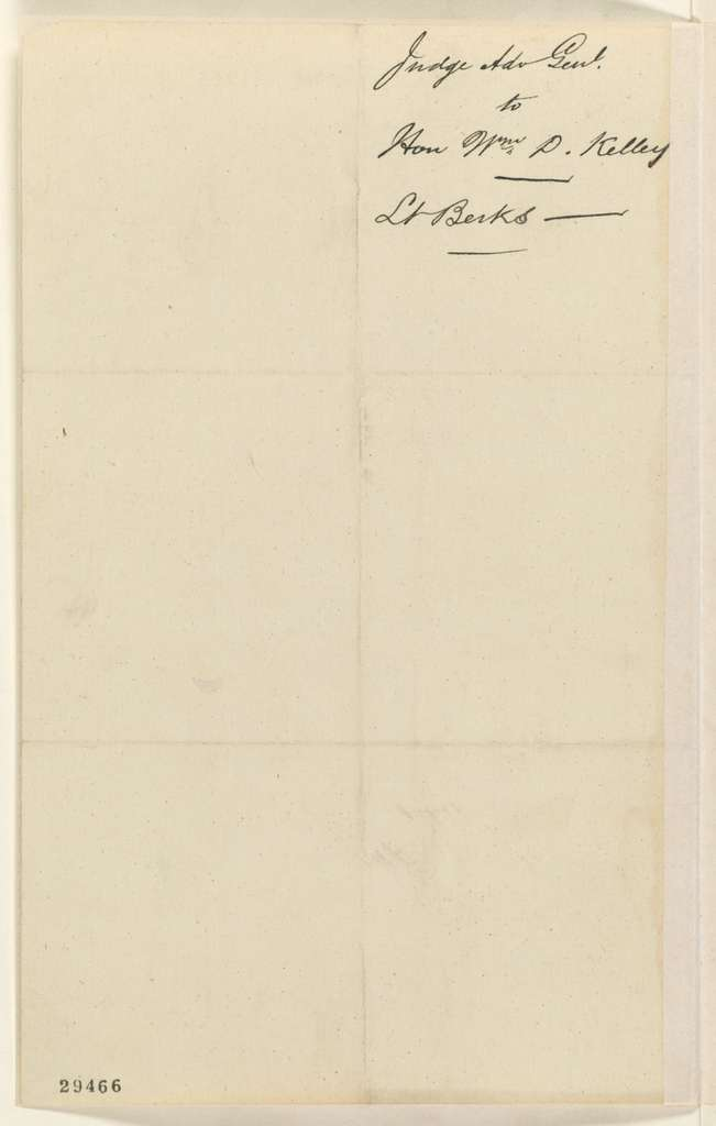 Abraham Lincoln papers: Series 1. General Correspondence. 1833-1916: Joseph Holt to William D. Kelley, Thursday, January 14, 1864 (Case of Lt. Berks)