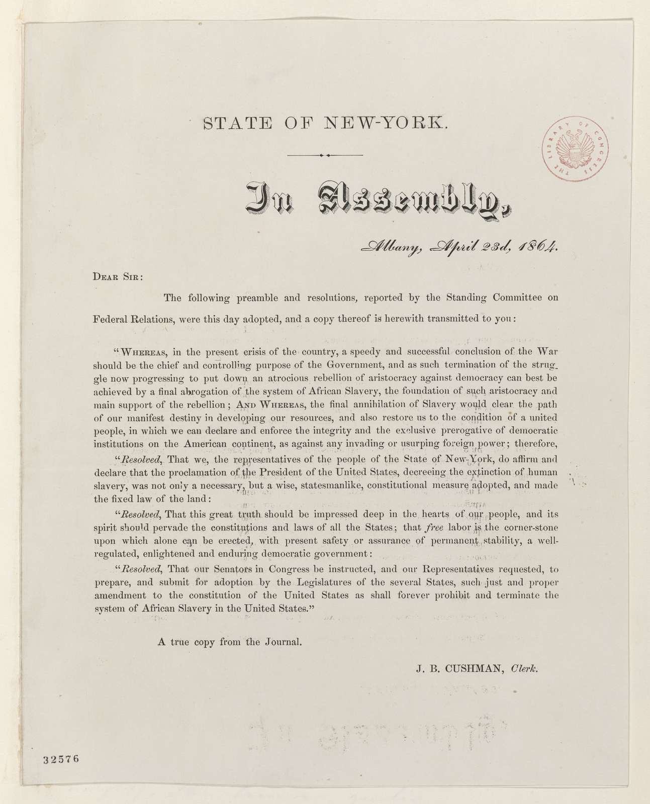 Abraham Lincoln papers: Series 1. General Correspondence. 1833-1916: New York Legislature to Abraham Lincoln, Saturday, April 23, 1864 (Printed resolution)