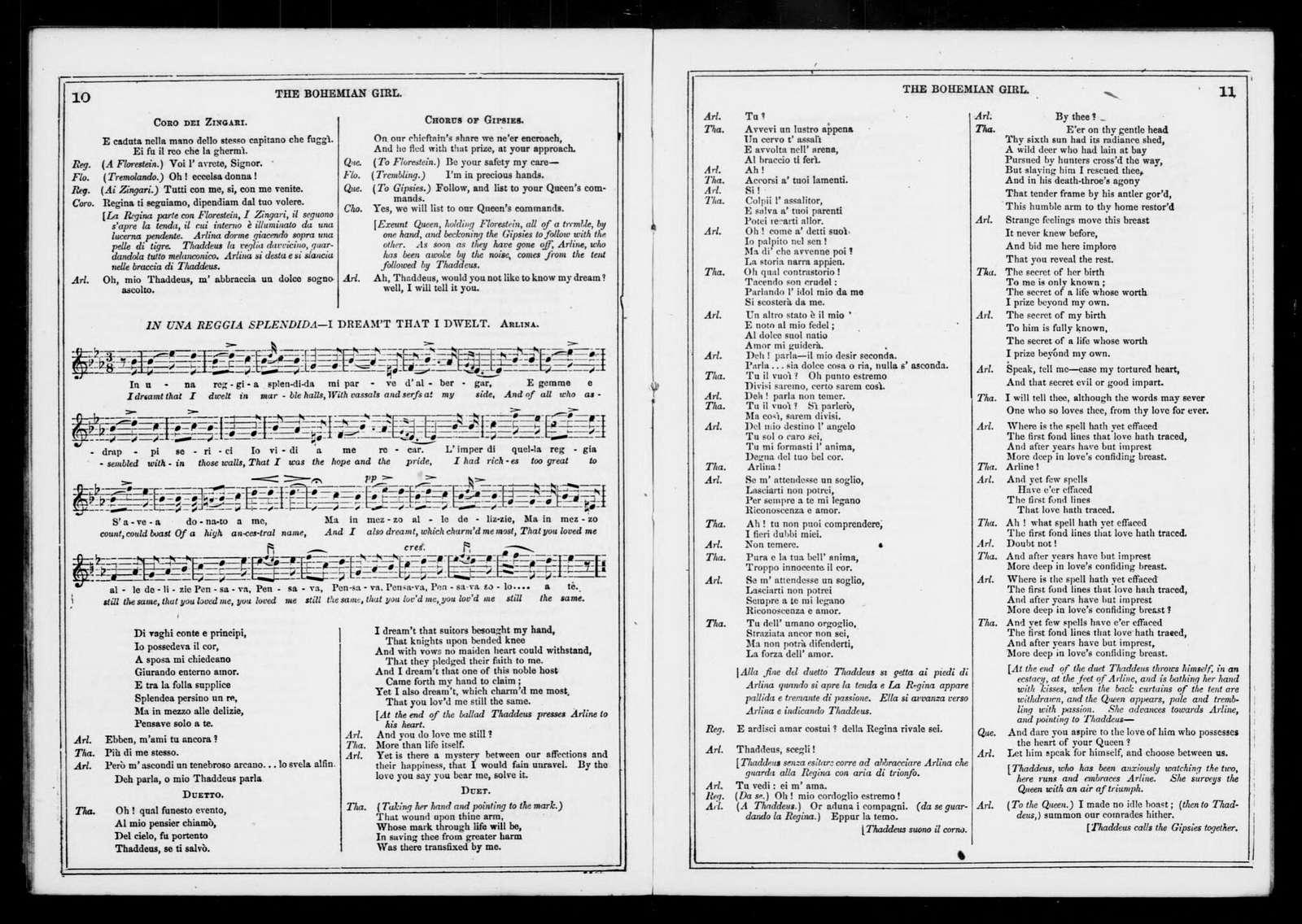 Bohemian girl. Libretto. English & Italian