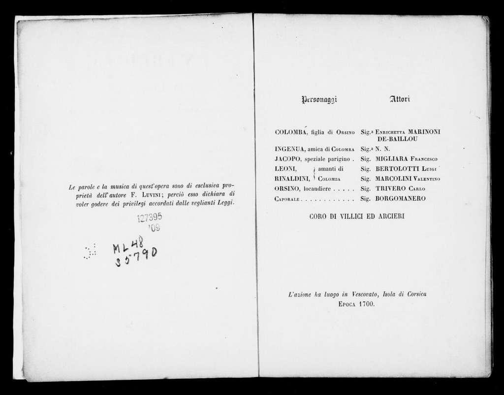 Eredità in Corsica. Libretto. Italian