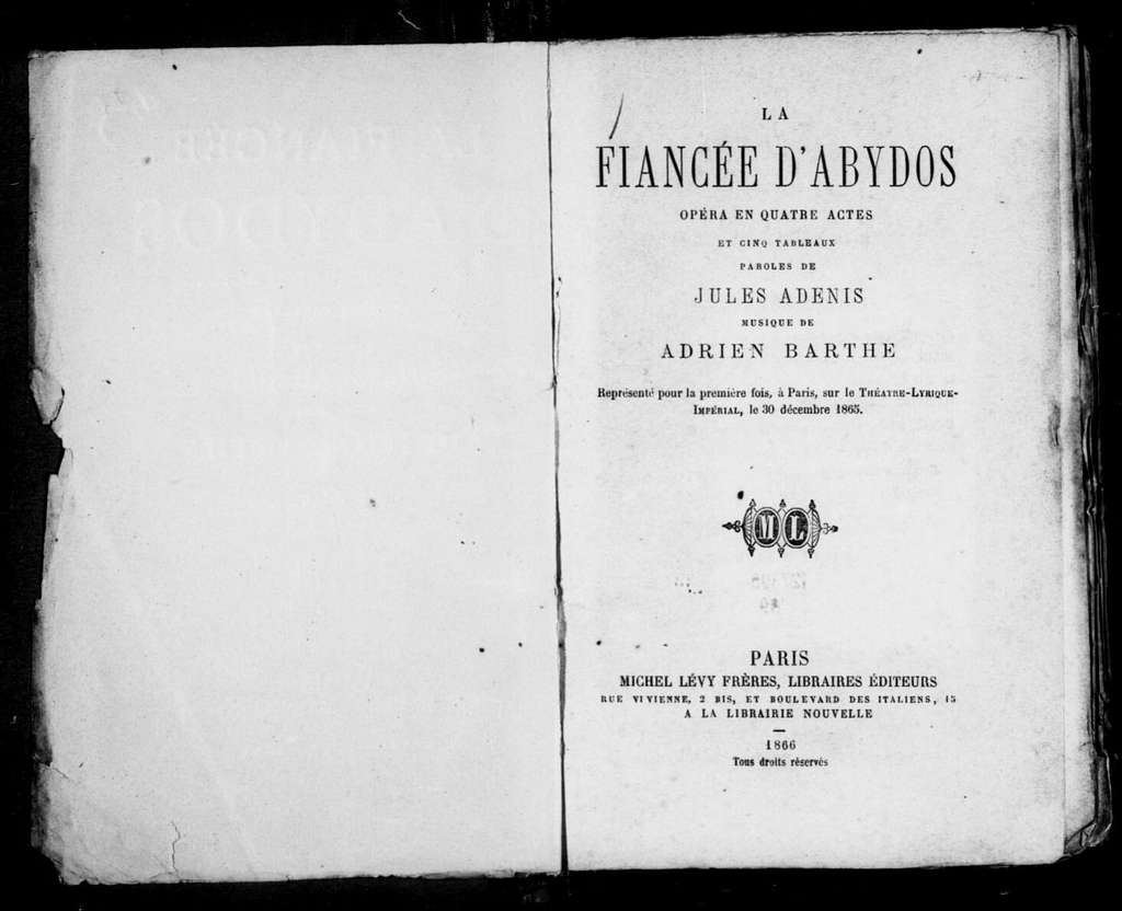 Fiancé d'Abydos. Libretto. French