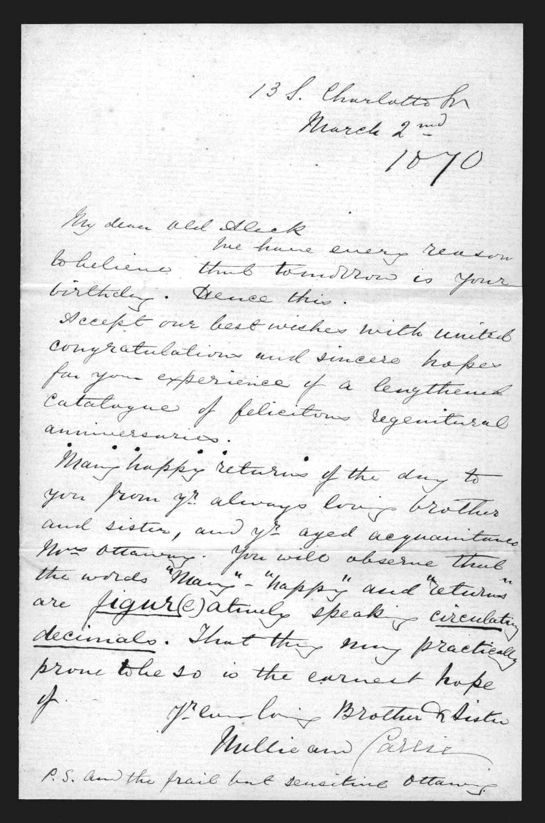 Letter from Melville Bell and Carrie Bell to Alexander Graham Bell, March 2, 1870
