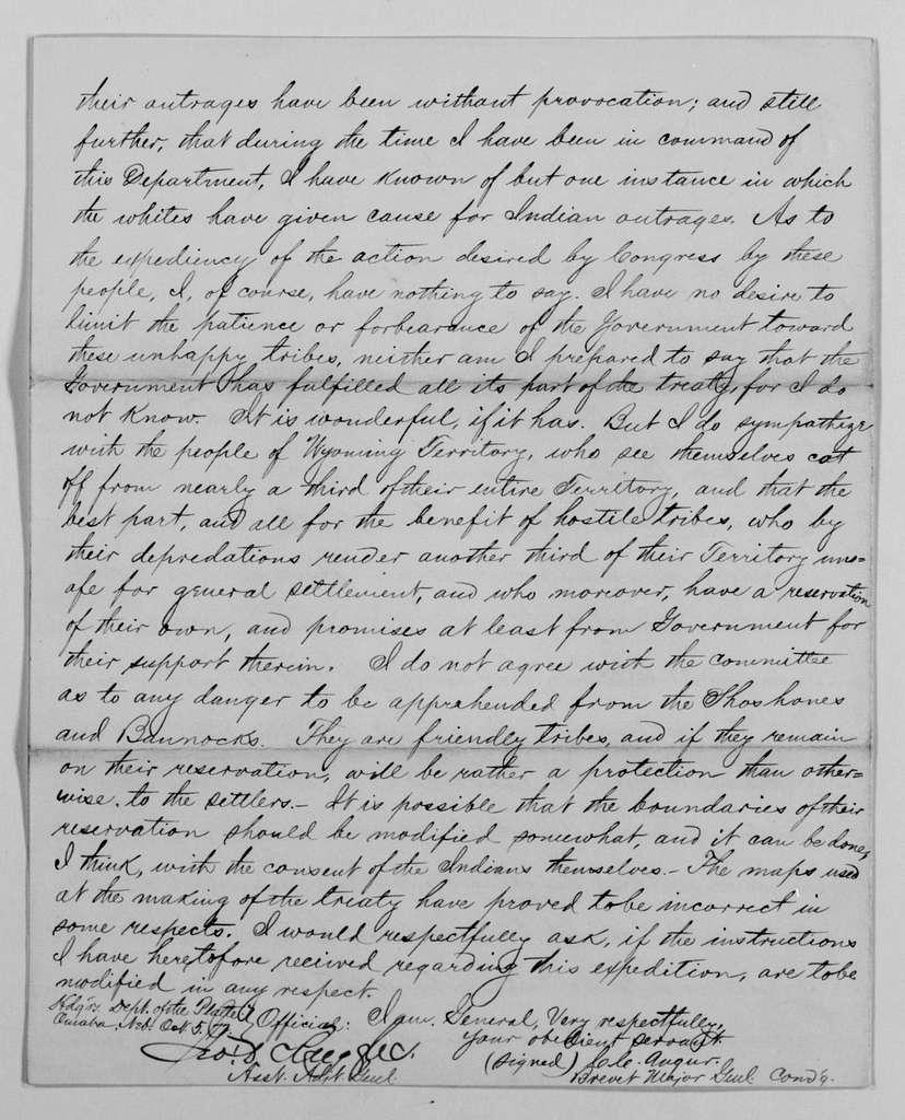 Philip Henry Sheridan Papers: General Correspondence, 1853-1888; 1870; Jan.-Apr