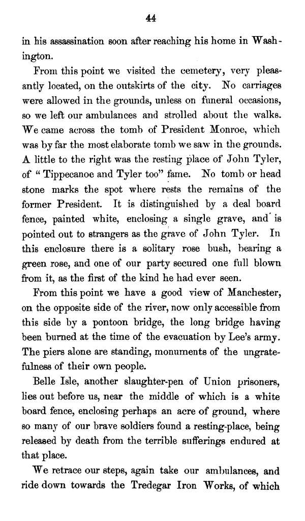 Journal of an excursion, from Troy, N.Y., to Gen. Carr's head quarters at Wilson's Landing (Fort Pocahontas) on the James River, Va., during the month of May, 1865