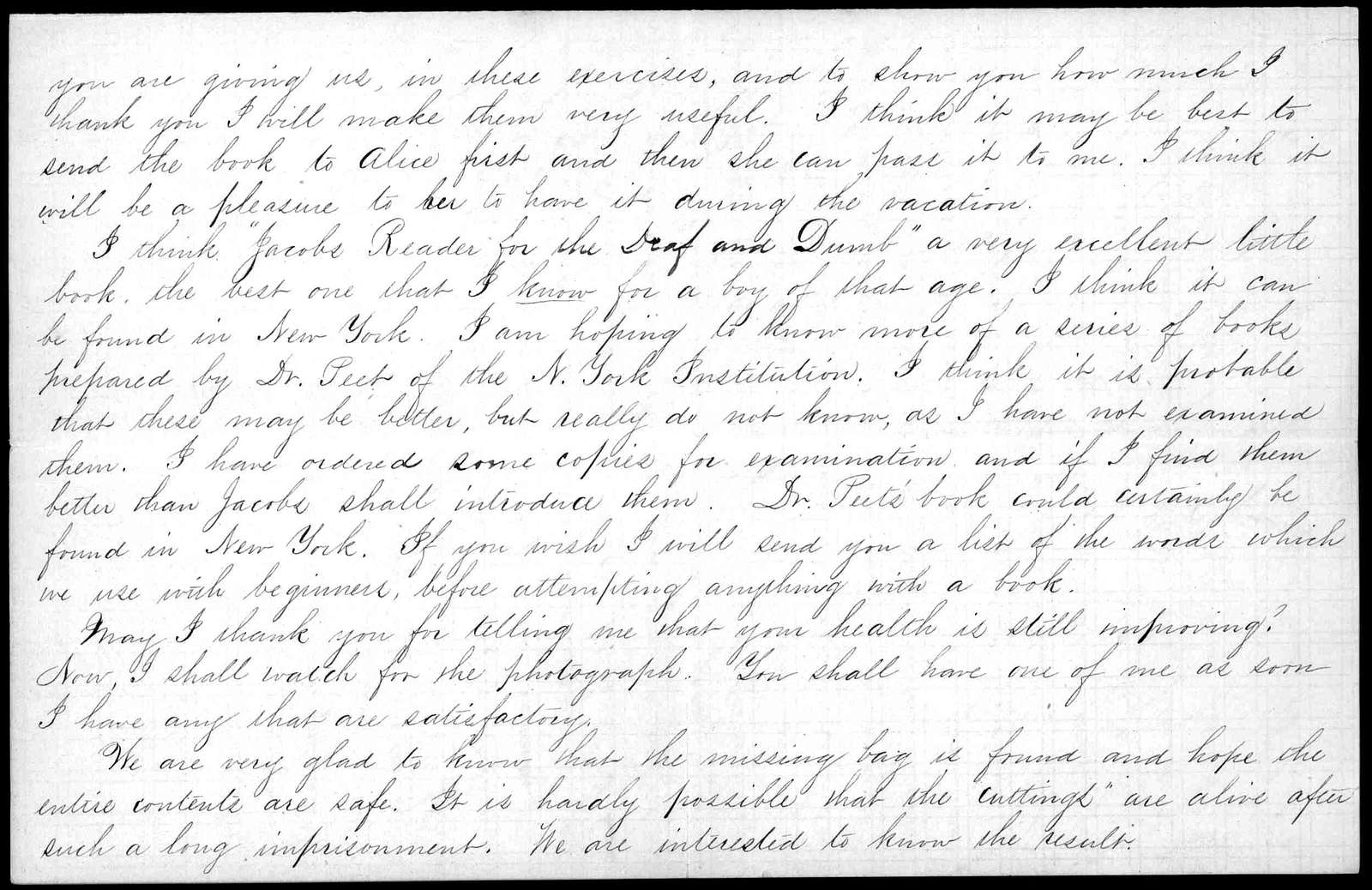 Letter from Sarah Fuller to Alexander Graham Bell, July 28, 1871