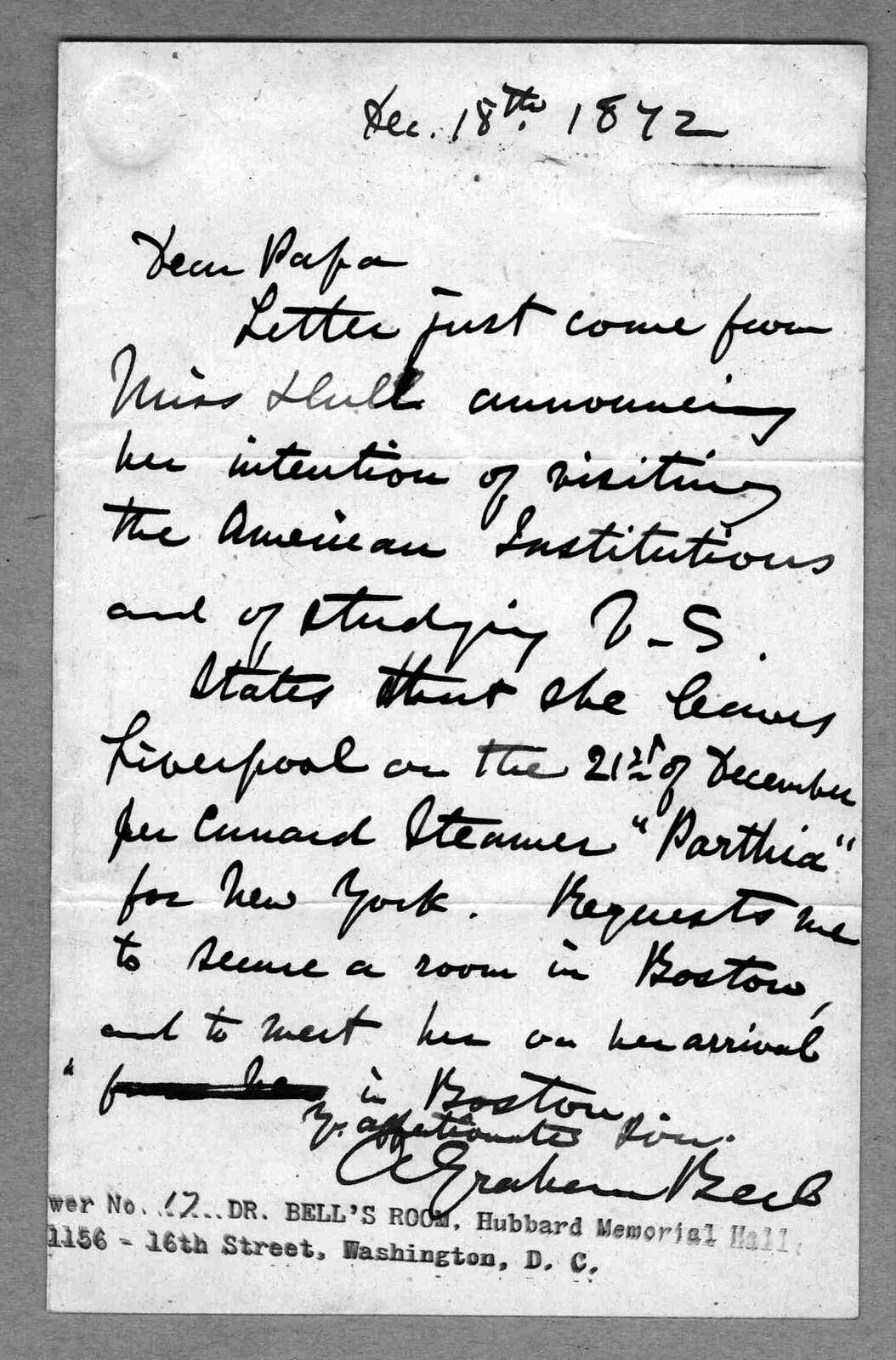 Letter from Alexander Graham Bell to Alexander Melville Bell, December 18, 1872
