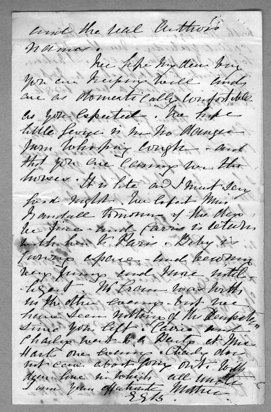 Letter from Eliza Symonds Bell to Alexander Graham Bell, November 2, 1873