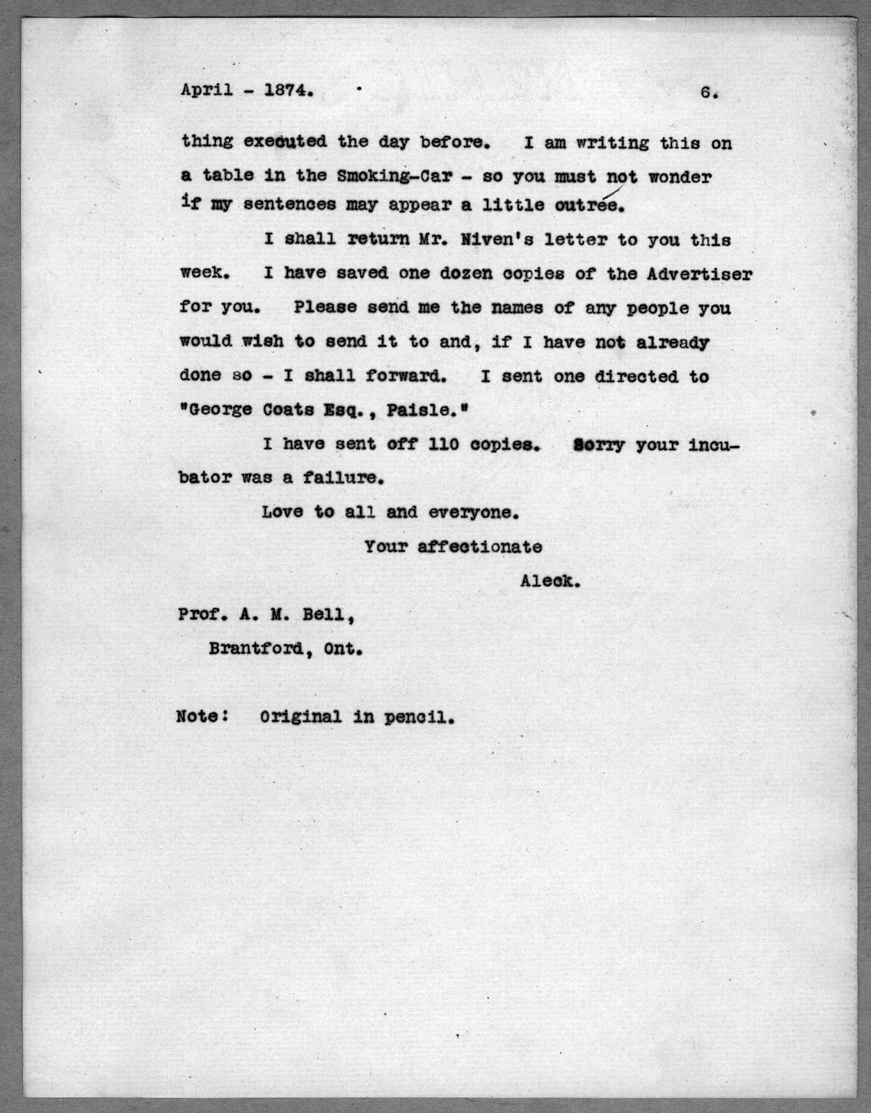 Letter from Alexander Graham Bell to Alexander Melville Bell, Eliza Symonds Bell, Carrie Bell, Charles J. Bell, April 1874