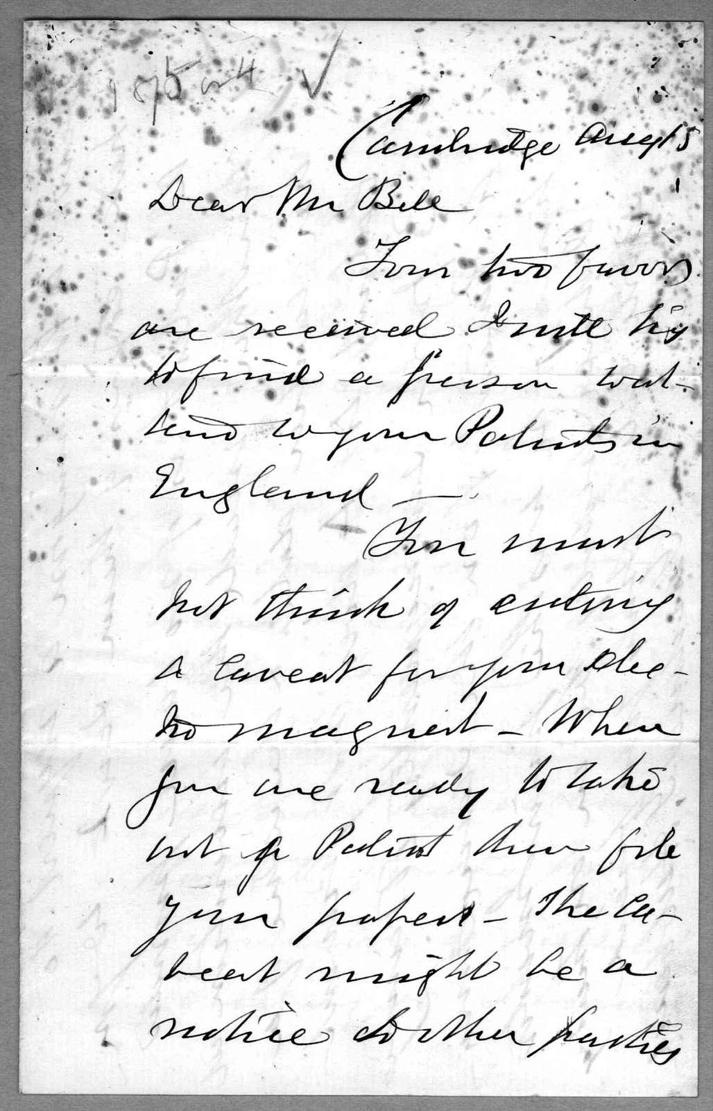Letter from Gardiner Greene Hubbard to Alexander Graham Bell, August 15, 1874