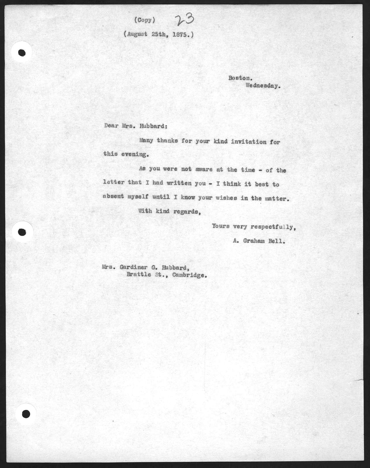 Letter from Alexander Graham Bell to Gertrude McCurdy Hubbard, August 25, 1875