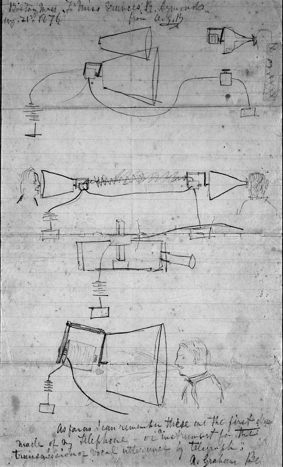Drawing by Alexander Graham Bell, 1876
