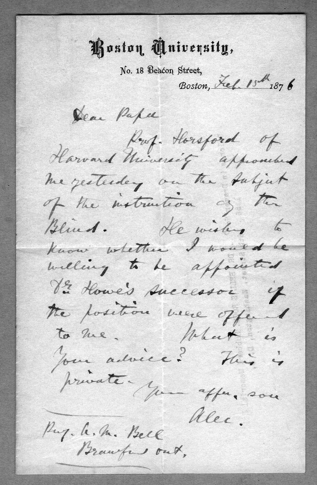 Letter from Alexander Graham Bell to Alexander Melville Bell, February 15, 1876