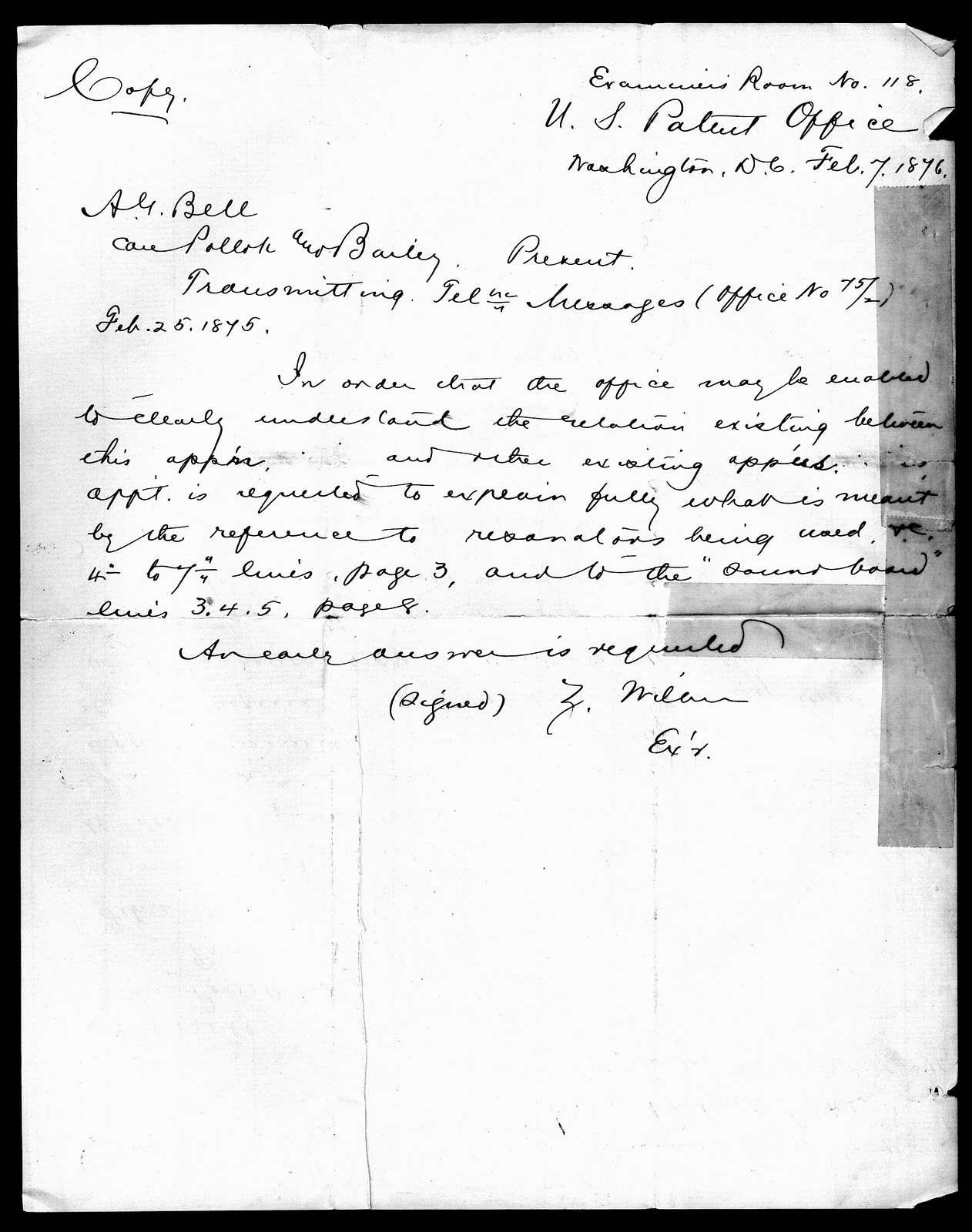 Letter to Alexander Graham Bell, February 7, 1876
