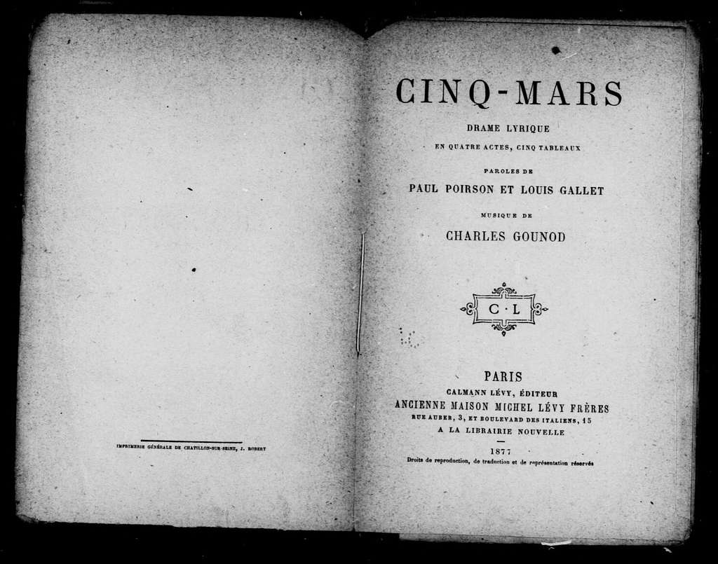 Cinq Mars. Libretto. French