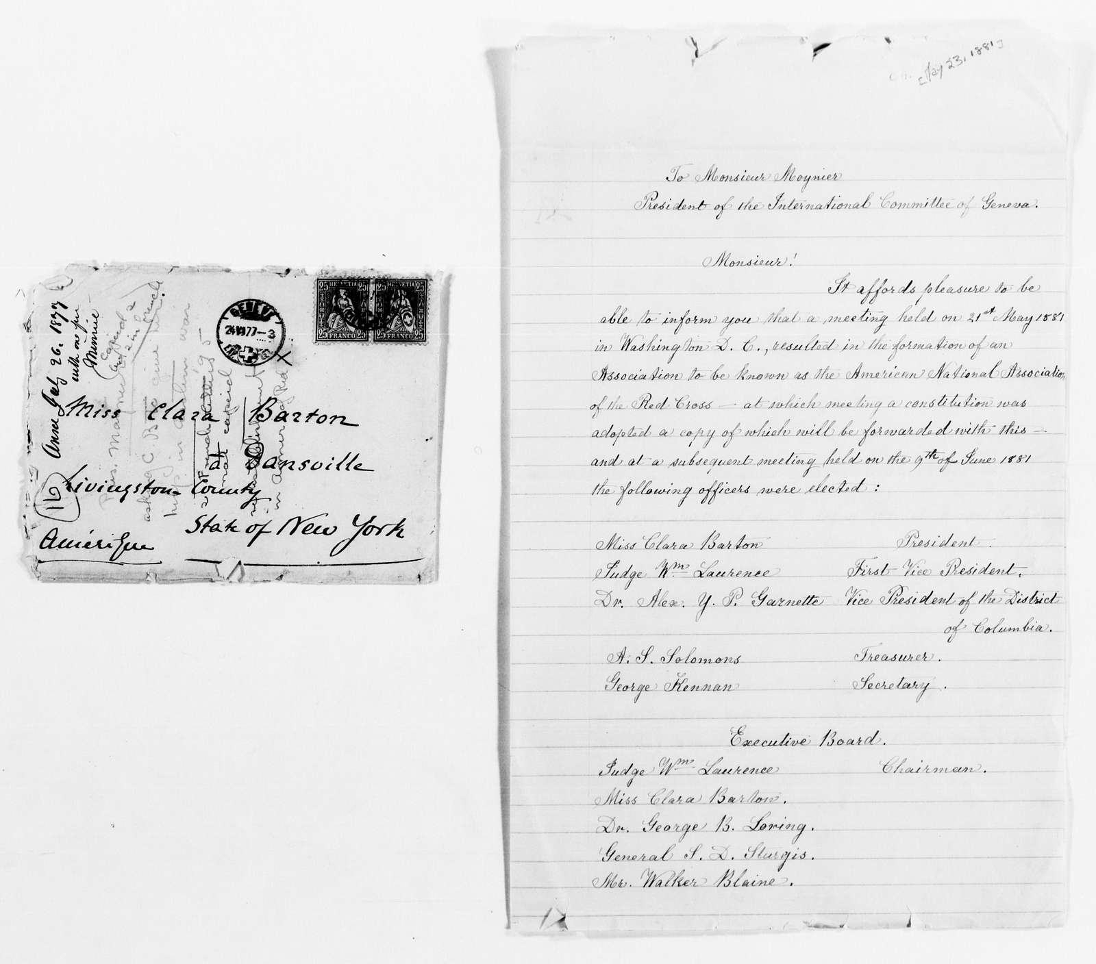 Clara Barton Papers: Red Cross File, 1863-1957; International Committee of the Red Cross, 1863-1919; Correspondence, 1877-1904, undated