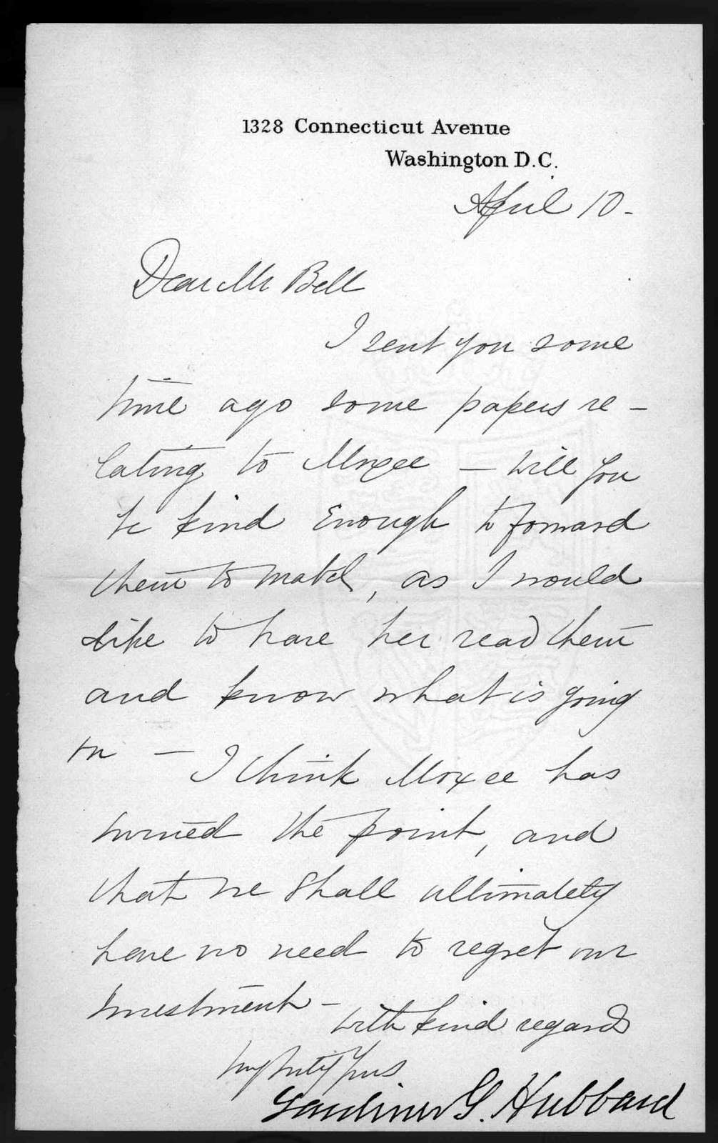 Letter from Gardiner Greene Hubbard to Alexander Graham Bell, April 10, 1877