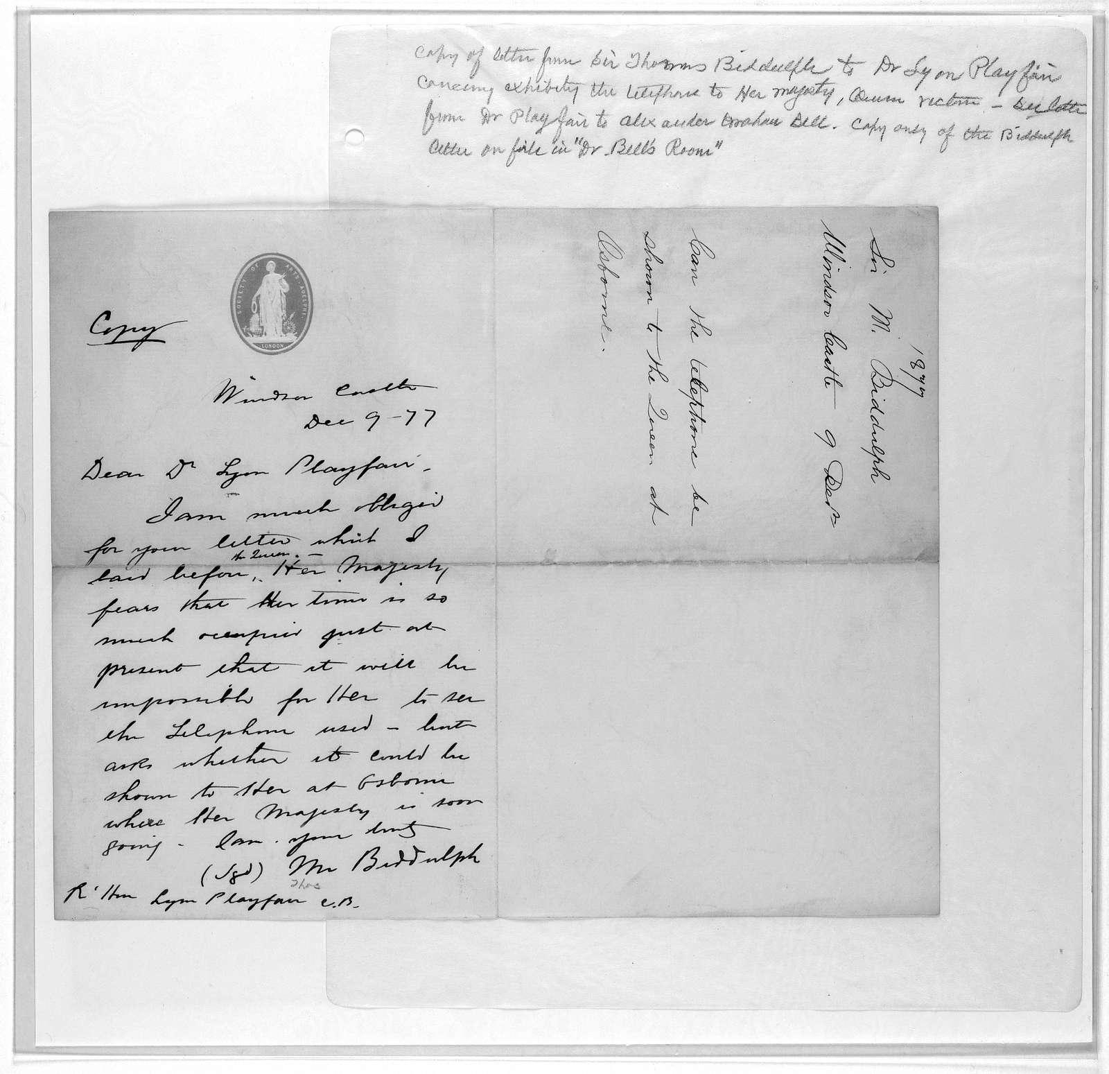 Letter from Thomas Biddulph to Lyon Playfair, December 9, 1877