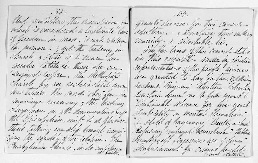 """Elizabeth Cady Stanton Papers: Speeches and Writings, 1848-1902; Speeches; Aug., """"Home Life,"""" Providence, R.I"""