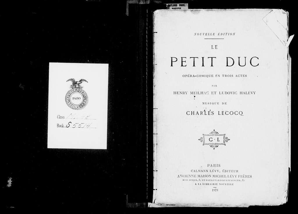 Petit duc. Libretto. French