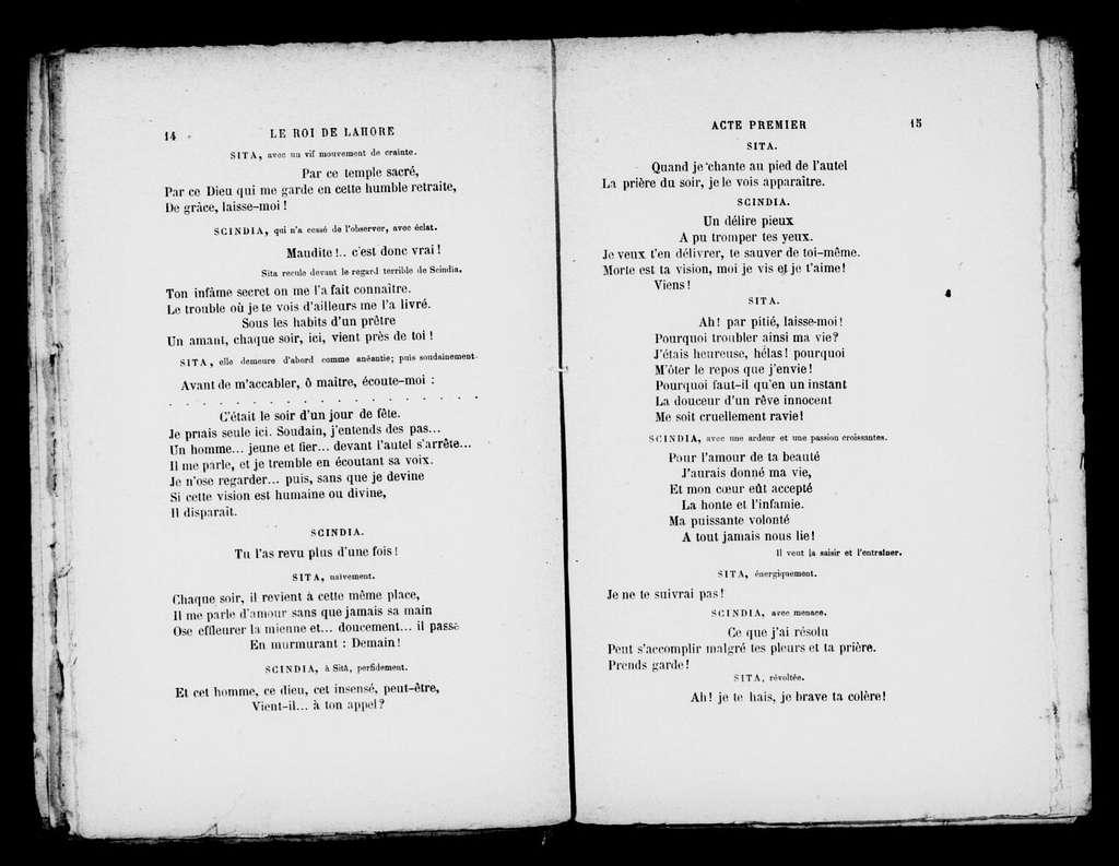 Roi de Lahore. Libretto
