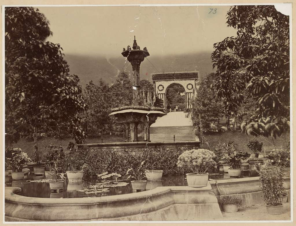 Grant's world tour China. Hong Kong. Fountain, gardens, and welcome arch. May 16, 1879