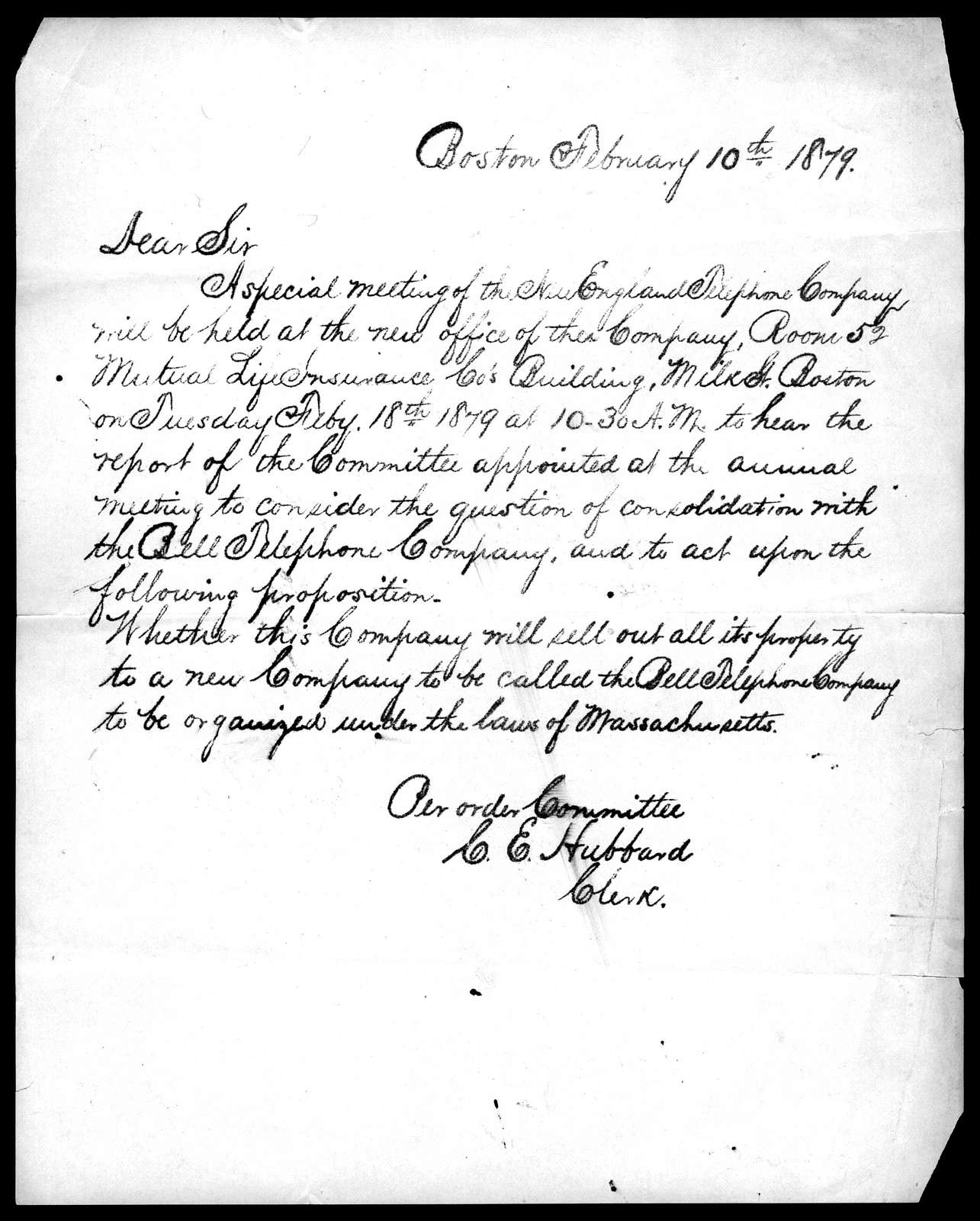 Letter by Charles E. Hubbard, February 10, 1879
