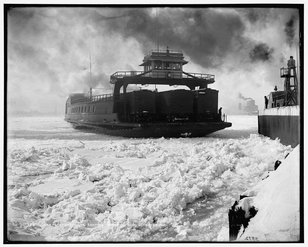 Car ferry, Michigan Central, entering slip, Detroit River