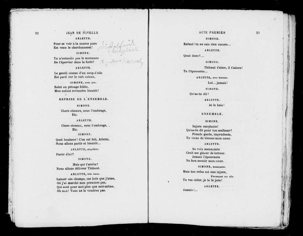 Jean de Nivelle. Libretto. French