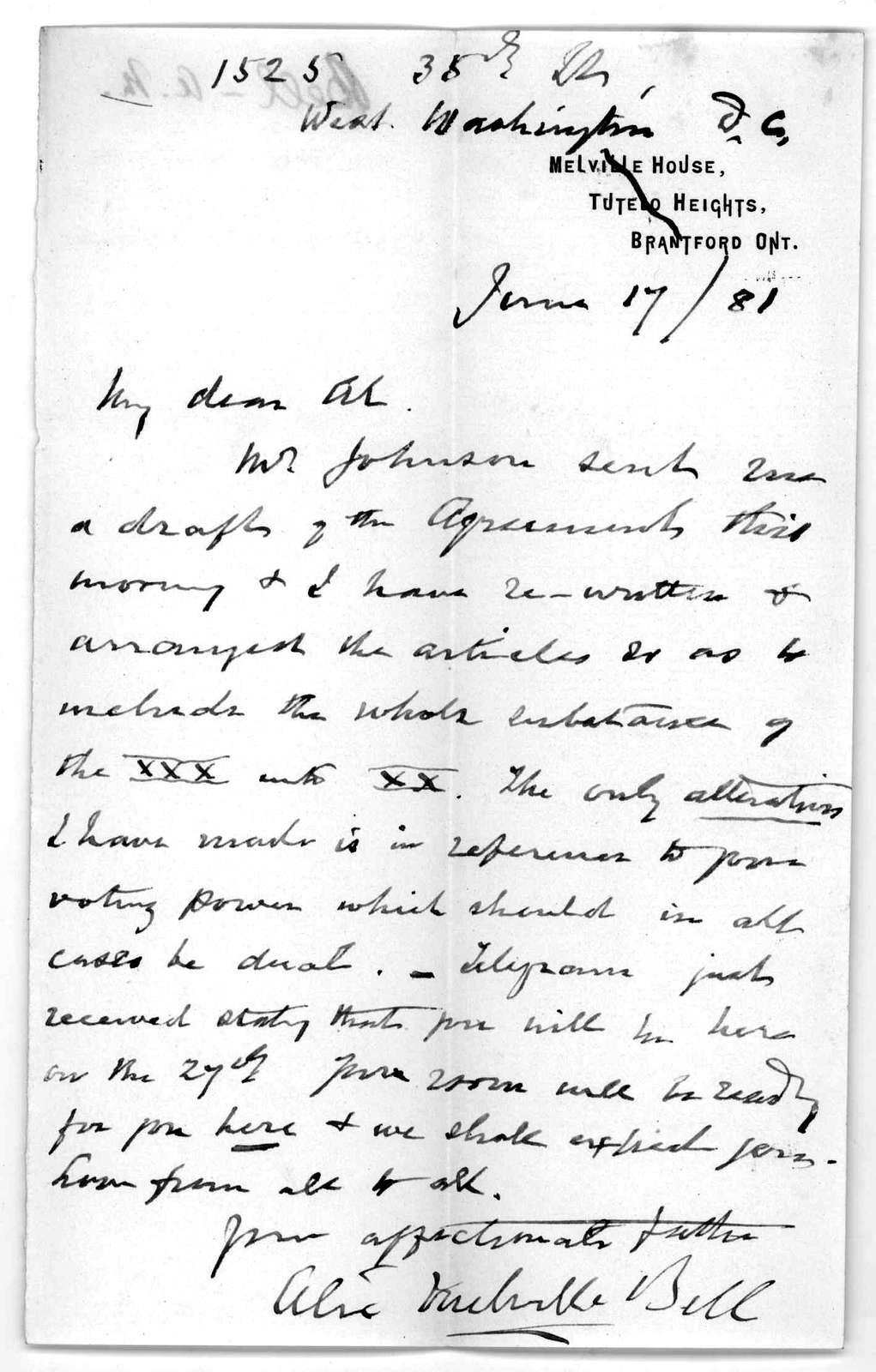 Letter from Alexander Melville Bell to Alexander Graham Bell, June 17, 1881