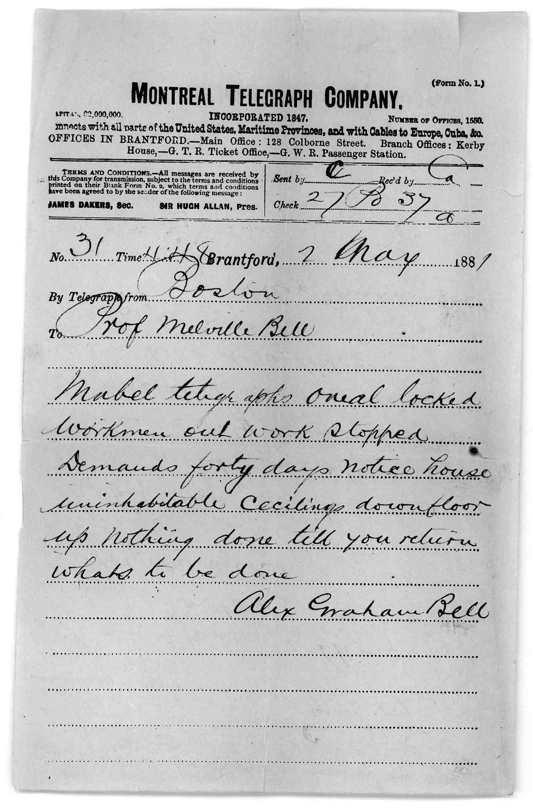 Telegram from Alexander Graham Bell to Alexander Melville Bell, May 2, 1881