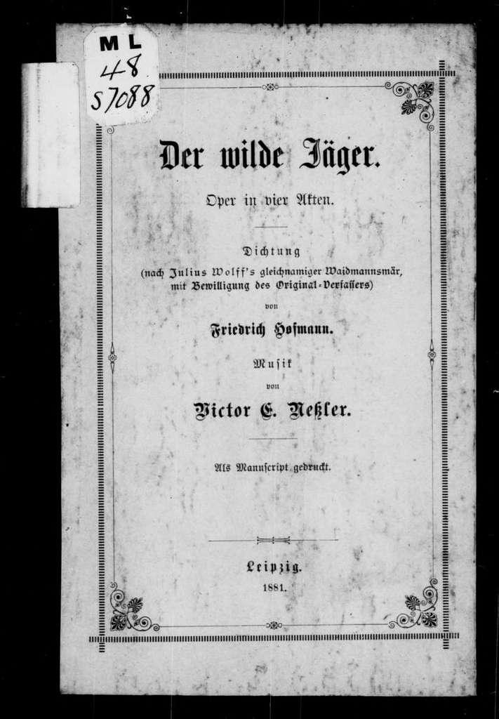Wilde Jäger. Libretto. German