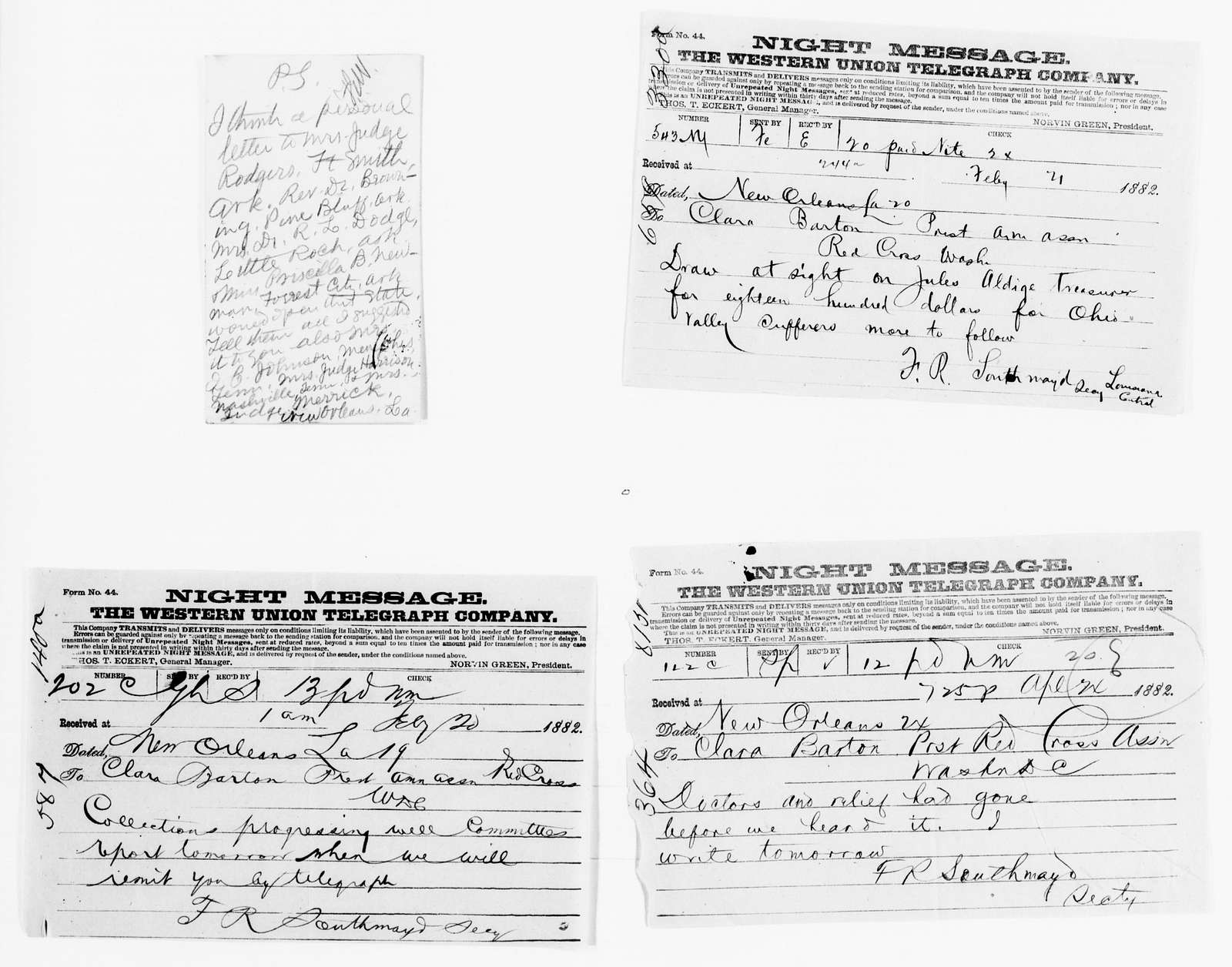 Clara Barton Papers: Red Cross File, 1863-1957; American National Red Cross, 1878-1957; Relief operations; Mississippi and Ohio river valleys; Correspondence; 1882, Feb.-1884, Feb. 19