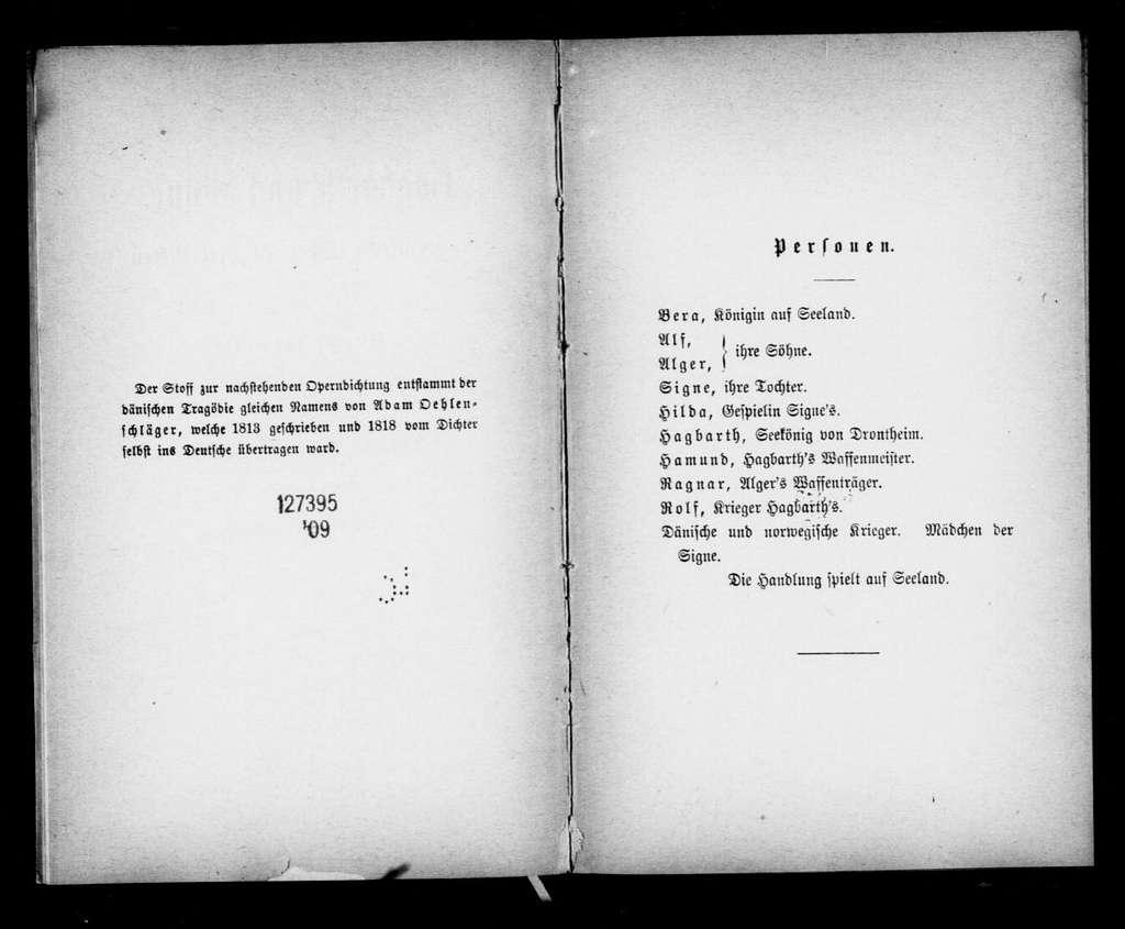 Hagbart und Signe. Libretto. German