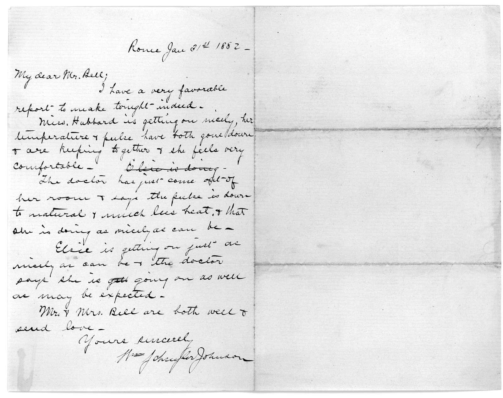 Letter from Schuyler Johnson to Alexander Melville Bell, January 31, 1882