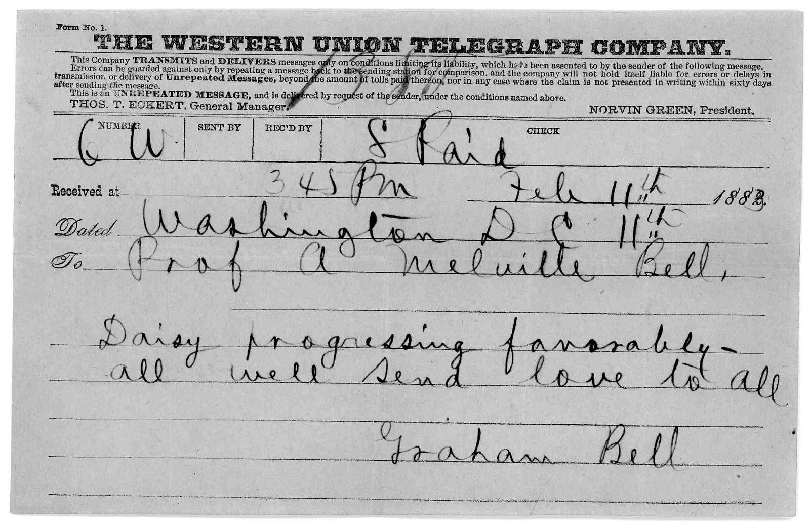 Telegram from Alexander Graham Bell to Alexander Melville Bell, February 11, 1883