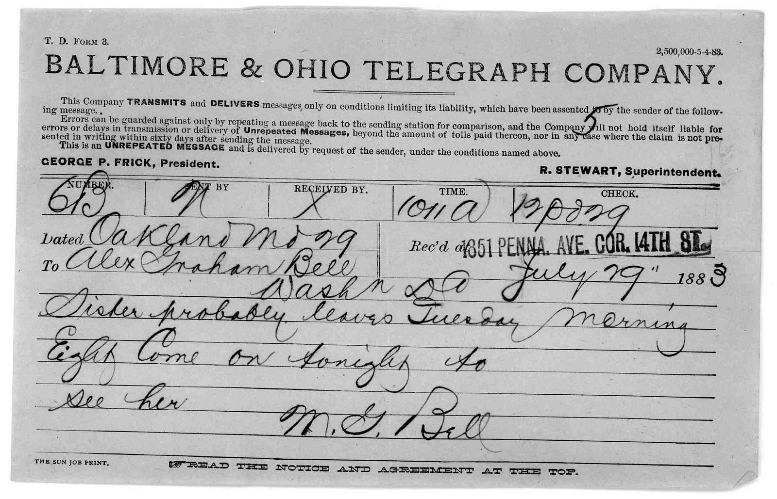 Telegram from Mabel Hubbard Bell to Alexander Graham Bell, July 29, 1883