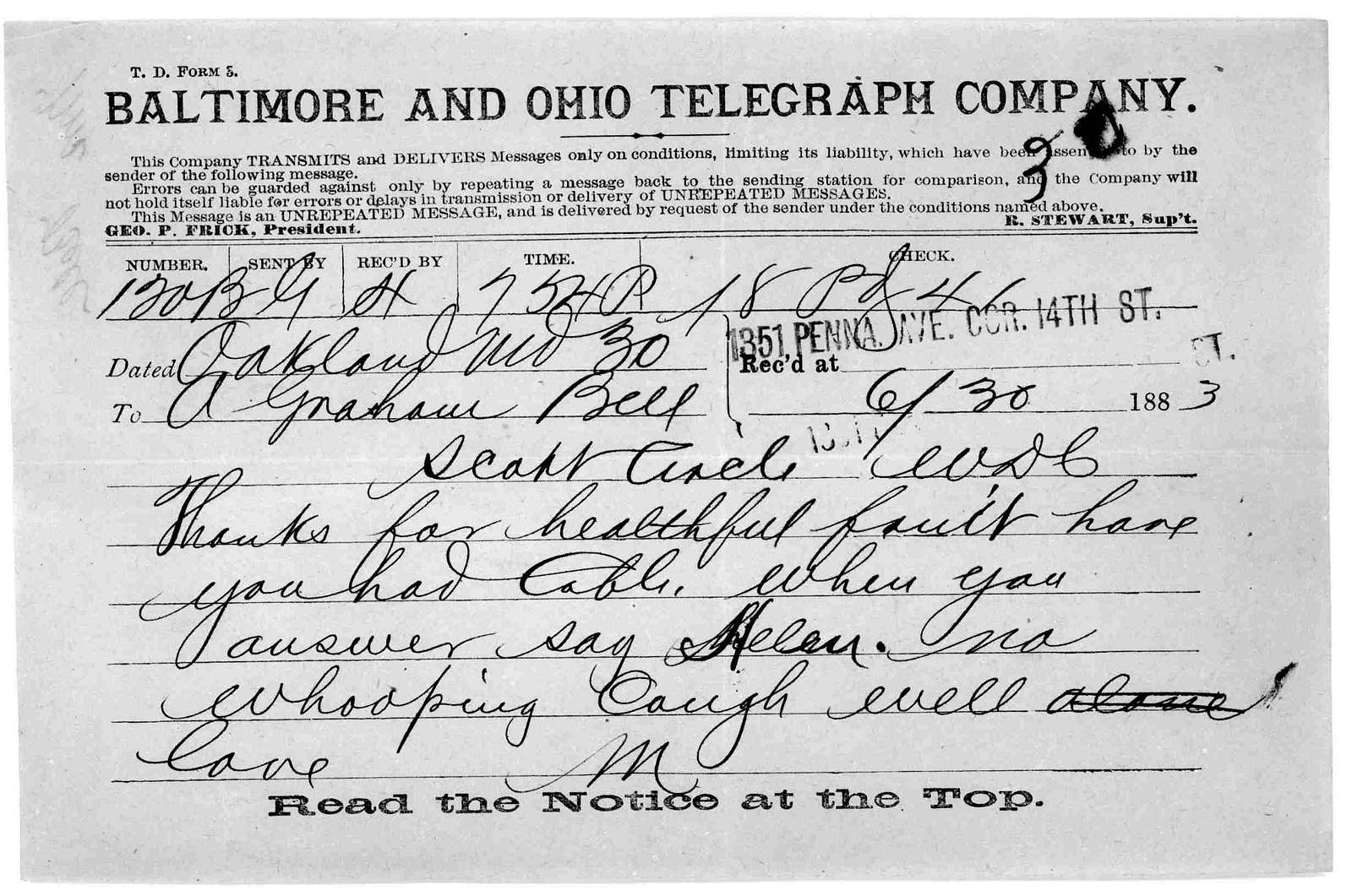Telegram from Mabel Hubbard Bell to Alexander Graham Bell, June 30, 1883