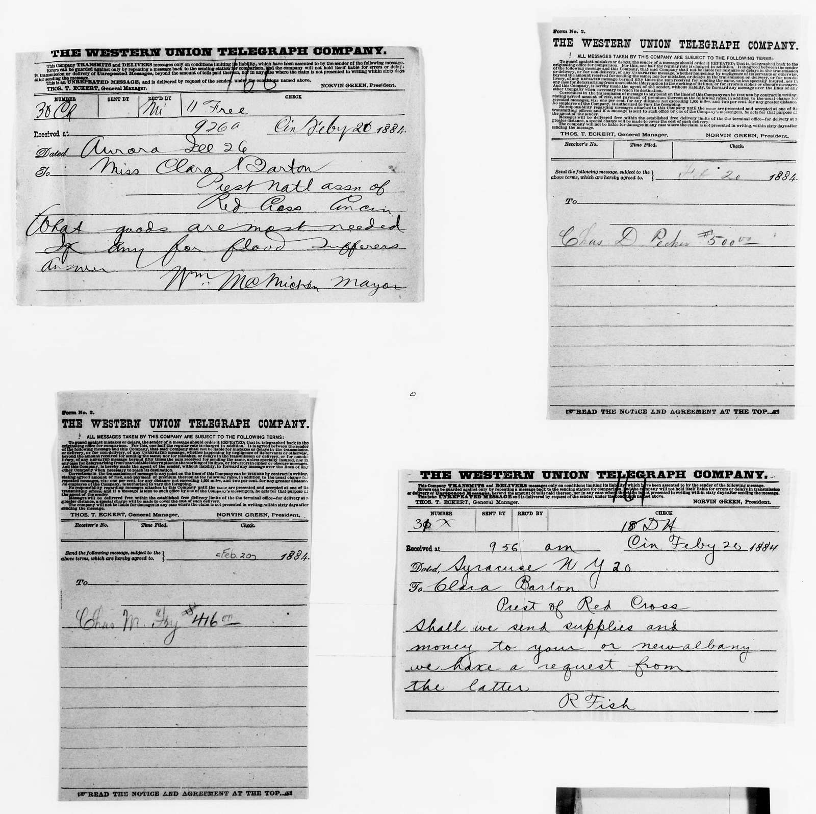Clara Barton Papers: Red Cross File, 1863-1957; American National Red Cross, 1878-1957; Relief operations; Mississippi and Ohio river valleys; Correspondence; 1884, Feb. 20-Apr. 30