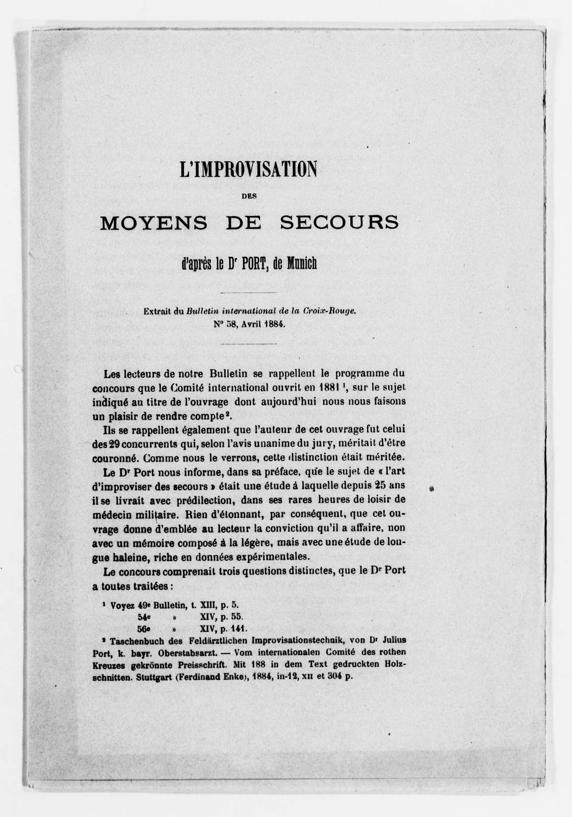 Clara Barton Papers: Red Cross File, 1863-1957; International Committee of the Red Cross, 1863-1919; Conferences; Third International Red Cross Conference, Geneva, Switzerland, Sept. 1884; Miscellany, 1884-1885