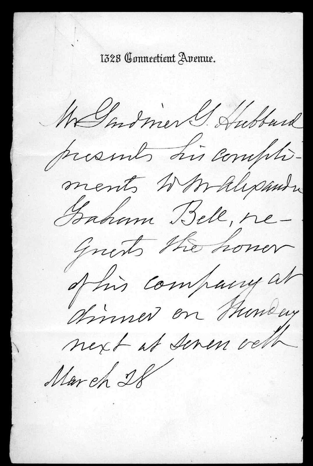 Gardiner Greene Hubbard to Alexander Graham Bell, March 28, 1884