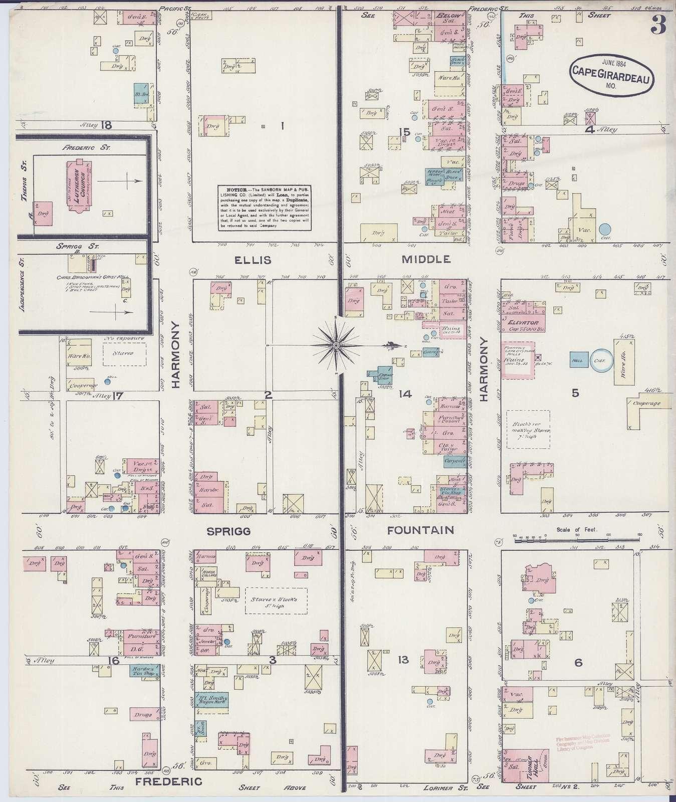 Sanborn Fire Insurance Map from Cape Girardeau, Cape Girardeau, Missouri